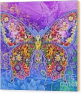 Blue Butterfly Floral Wood Print