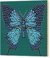 Blue Butterfly Green Background Wood Print