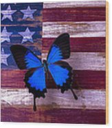Blue Butterfly On American Flag Wood Print