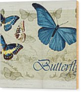 Blue Butterfly - S01a Wood Print