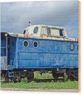 Blue Caboose Wood Print