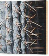 Blue Cactus Wood Print