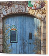 Blue Cafe Doors Wood Print