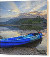 Blue Canoe At Sunset Wood Print