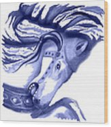 Blue Carrousel Horse Wood Print