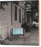 Blue Cart Wood Print