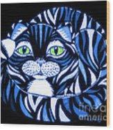 Blue Cat Green Eyes Wood Print