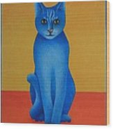 Blue Cat Wood Print