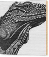 Blue Cayman Iguana Wood Print