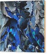 Blue Chaos Wood Print