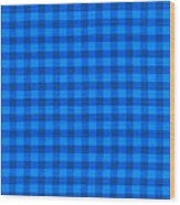 Blue Checkered Tablecloth Fabric Background Wood Print