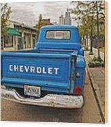 Blue Chevy Tailgate Wood Print