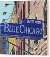 Blue Chicago Club Wood Print