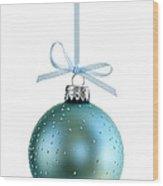 Blue Christmas Ornament Wood Print by Elena Elisseeva
