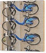 Blue City Bikes Wood Print