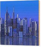 Chicago Blue City Wood Print