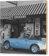 Blue Classic Car In Jamestown Wood Print by RicardMN Photography
