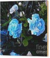 Blue Carnations Wood Print