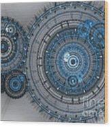 Blue Clockwork Machine Wood Print