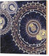 Blue Clockwork Wood Print