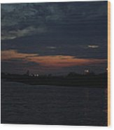 Blue Clouds At Night Over Long Island Wood Print