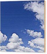 Blue Cloudy Sky Panorama Wood Print