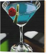 Blue Cocktail With Cherry And Lime Wood Print