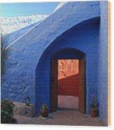 Blue Courtyard Wood Print