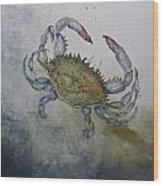 Blue Crab Print Wood Print