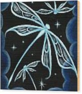 Blue Crystal Winged Dragonflies Wood Print by Elaina  Wagner