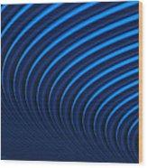 Blue Curves Wood Print