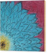 Blue Daisy Wood Print