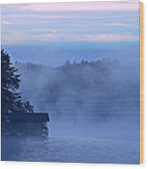 Blue Dawn Mist Wood Print by Susan Leggett