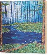 Blue Day Stream Wood Print