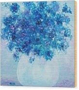 Blue Delphiniums Wood Print