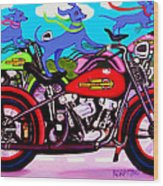 Blue Dogs On Motorcycles - Dawgs On Hawgs Wood Print