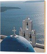 Blue Domed Church In Santorini Greece Wood Print