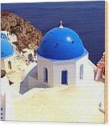 Blue Domes In Santorini Wood Print