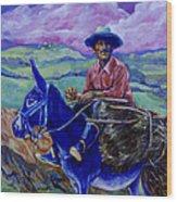 Blue Donkey Wood Print