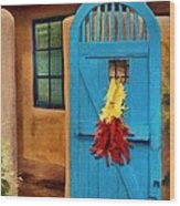 Blue Door And Peppers Wood Print