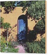 Blue Door At Old Mesilla Wood Print