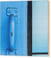 Blue Door Handle Wood Print