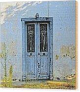 Blue Door In Shade Wood Print