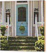 Blue Door  Ivy Stairs Wood Print