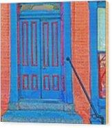 Blue Door On Red Brick Wood Print
