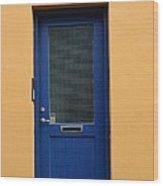 Blue Door Orange Wall Iceland Wood Print