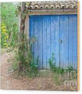 Blue Doors And Yellow Flowers Wood Print
