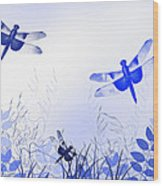 Blue Dragonfly Art Wood Print