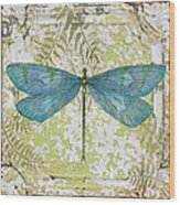 Blue Dragonfly On Vintage Tin Wood Print
