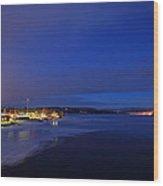 Blue Dusk - Freezing River Wood Print